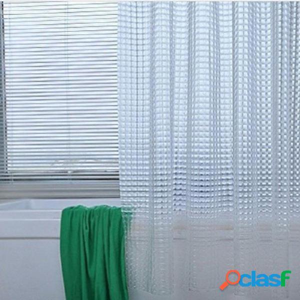 Cortina de baño impermeable de plástico eva 3d cortina de baño de lujo transparente blanco cortina de baño con 12 ganchos 180x180cm / 1