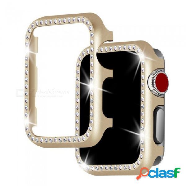 Cubierta metálica ultra delgada de parachoques miimall con estuche protector de diamantes de imitación de bling para apple watch 38mm serie 3 / 2 / 1
