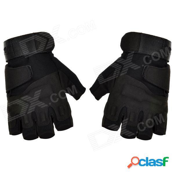 Deportes al aire libre ciclismo / alpinismo guantes de medio dedo de nylon a prueba de viento - negro (par / talla-l)
