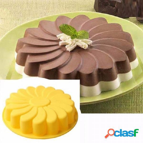 Diy 3d forma de girasol fondant cake molde de silicona para hornear cortador de biscoito cocina pastelería decoración de pasteles herramientas 5 colores naranja