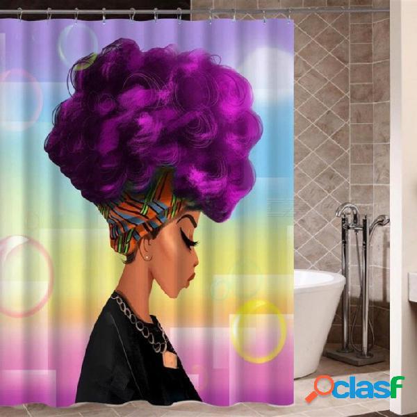 Mujer africana con cortina de ducha afro pelo púrpura tela de poliéster impresión baño cortina impermeable