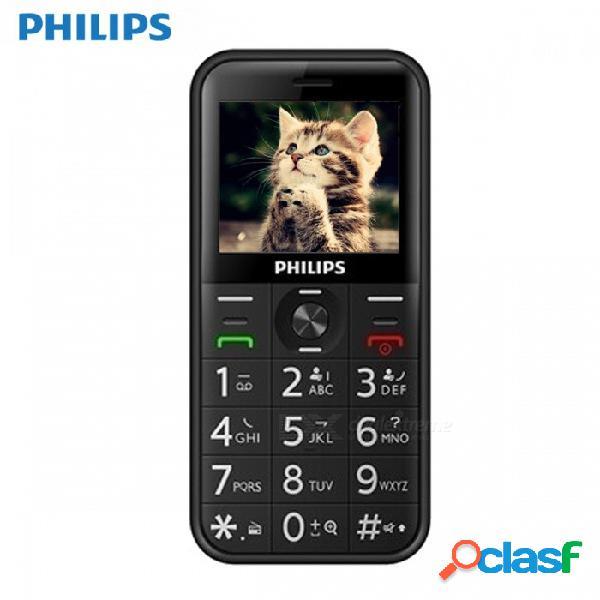 Philips e163k, teléfono con doble función sim de larga espera con 24mb de ram, 32mb de rom, 1050mah de batería - negro