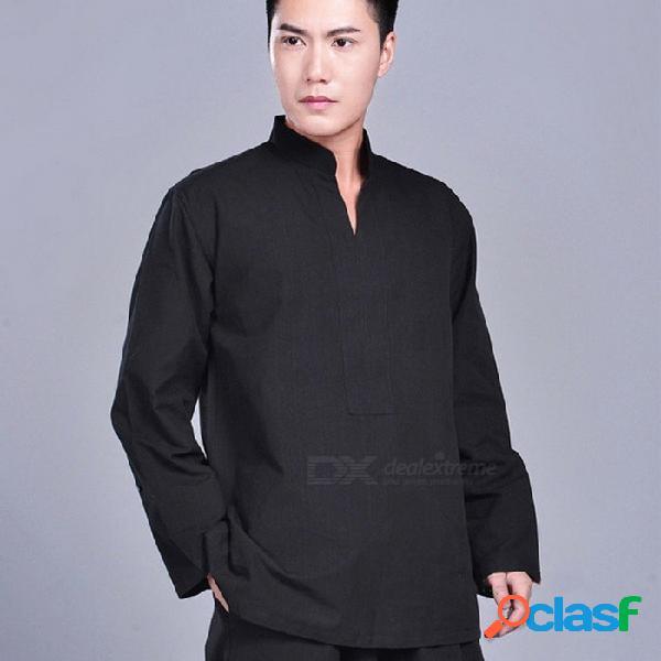100 chaqueta de kung fu de wushu de algodón, traje de meditación monje budista zen tai chi top, camisa de uniforme de artes marciales