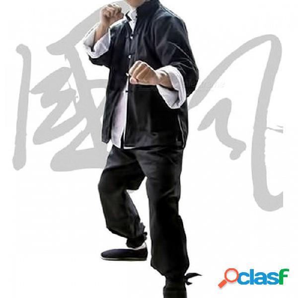 Bruce lee retro vintage chun chino kung fu uniformes artes marciales tai chi trajes clásico algodón chaqueta xxxl / chaqueta pantalones camisa