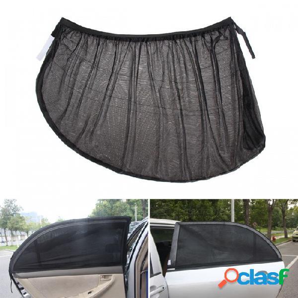 Protección uv auto ajustable lateral del auto ventana trasera cubierta protectora de malla solar, pantalla shield sombrilla - negro (2 piezas)