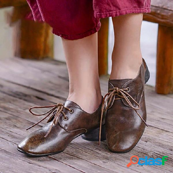 Zapatos de mujer de cuero de vaca de la parte superior del otoño retro zapatos de tacón bajo con cordones de punta redonda para mujer café / 40