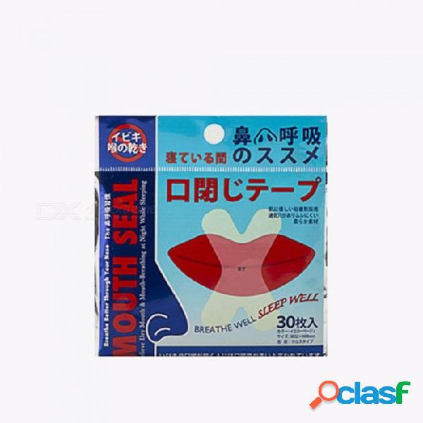 30 piezas de ronquido respirable, fácil de dormir anti-ronquidos tiras nasales pegatina labial para niños adultos como la imagen