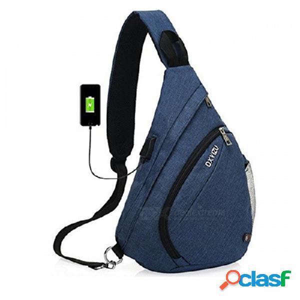 Bolso honda de gran capacidad de alta calidad, bolso de baúl de hombro único con puerto de carga usb para mujeres y hombres azul
