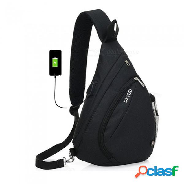 Bolso honda de gran capacidad de alta calidad, bolso de baúl de hombro único con puerto de carga usb para mujeres y hombres negro