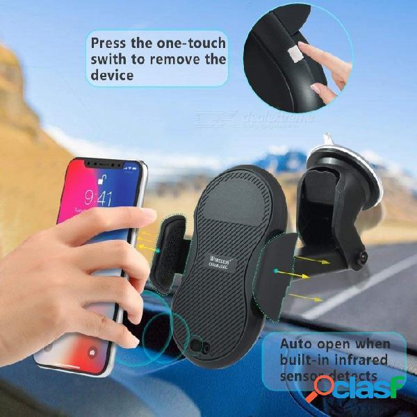 Cargador inalámbrico de succión para el tablero de instrumentos de inducción automática con función de una mano para iphone x 8/8 plus, samsung galaxy