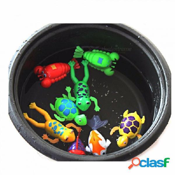 Dibujos animados animal bebé bañándose, cuerda cuerda de la tortuga nadando, cuerda de juguete, pequeña tortuga baño de juguete (color al azar) color al azar