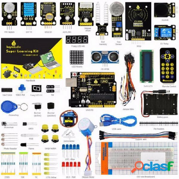 Keyestudio super starter kit / kit de aprendizaje (uno r3) para arduino starter kit con 32 proyectos + manual de usuario + rfid 1602 colorido