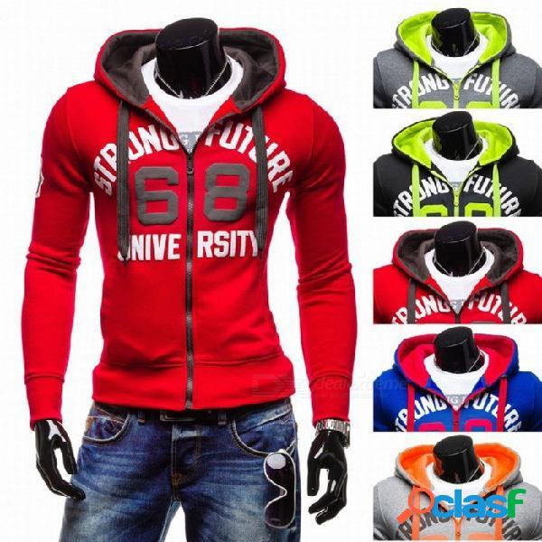 Nuevos sudaderas con capucha cardigan slim fit sudaderas con capucha diseño de impresión de carta de los hombres ocasionales suéteres de punto para hombres negro / s