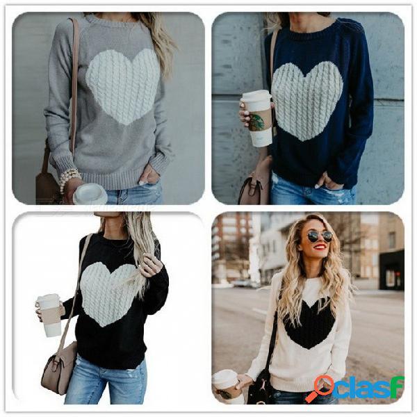 Otoño invierno suéter de mujer jersey de manga larga jerseys básicos amor patrón de punto tops para mujeres beige / s