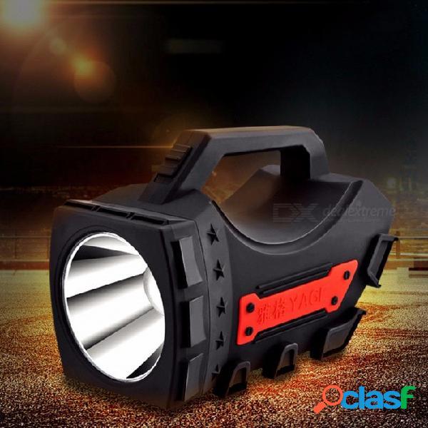 Portátil 5w led lámpara de mano recargable linterna que acampa portátil portátil de mano al aire libre luz caza lámpara de pesca fría blanco / negro
