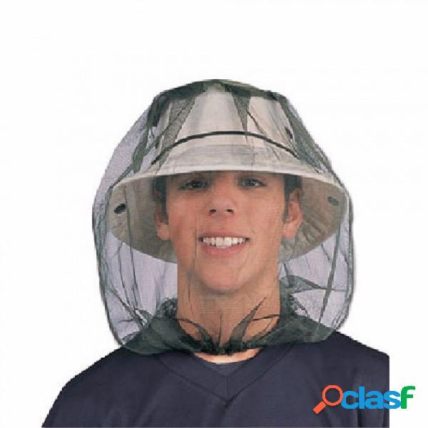 Protección de la cara de malla para la pesca al aire libre insecto selva de insectos selva anti mosquito abeja espesar malla sombrero máscara con cabeza red verde