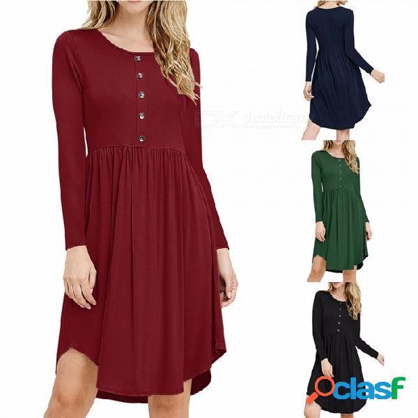 Wq033 casual vestido holgado con cuello redondo para mujer, vestido de manga larga para mujer con cierre de botón frontal negro / s