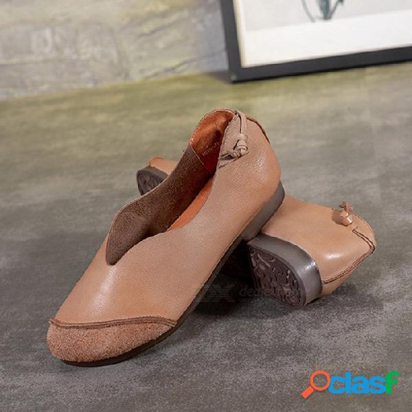 Zapatos de mujer de cuero superiores retro hechos a mano con suela suave y redonda zapatos planos sin cordones para mujer color arena / 40