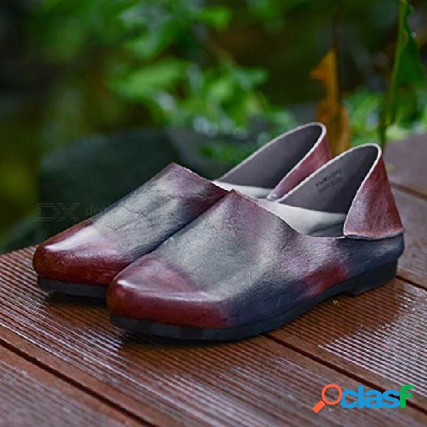 Zapatos de mujer hechos a mano con parte superior de cuero retro mocasines casuales zapatos planos sin cordones para mujer multi / 40