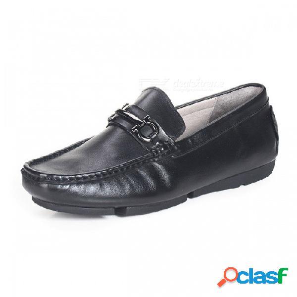 Zapatos retro para hombre de cuero genuino retro zapatos cómodos casuales para hombres de mediana edad negros / 38