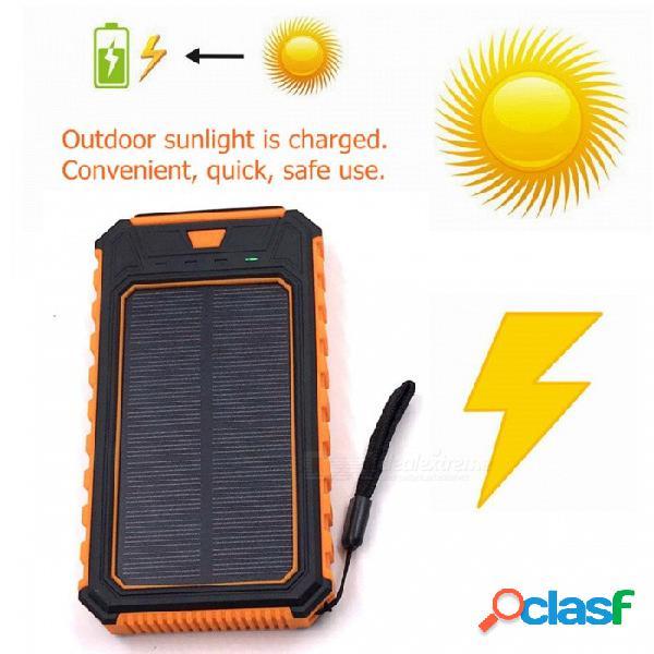 Zhaoyao 10000mah dc 5v cargador de banco de energía solar dual usb con 2835smd-12leds luz blanca y correa - naranja