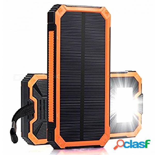 Zhaoyao 30000mah dc 5v dual usb cargador de banco de energía solar con 2835smd-6leds luz blanca y correa