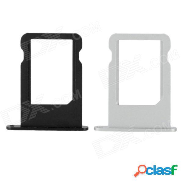 bandeja de la tarjeta nano SIM de aleación de aluminio de repuesto para el iphone 5 - negro + plata (2 PCS)