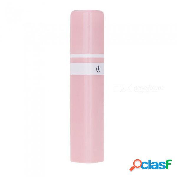 Forma de lápiz labial mini usb ventilador recargable portátil con 2600mah banco de energía cargador para viajes, pesca, camping - rosa