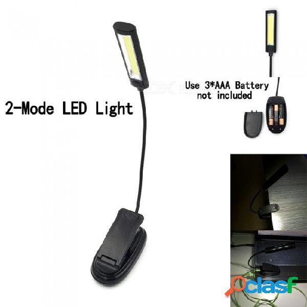 Luz de relleno portable de la linterna del usb 2-modo led, luz de trabajo plástica de la mazorca, lámpara de clip de lectura de libro con pilas blanco / negro