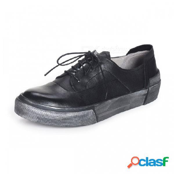 Retro otoño zapatos de cuero genuino para hombre casual con cordones zapatos de cordones para hombres negro / 38