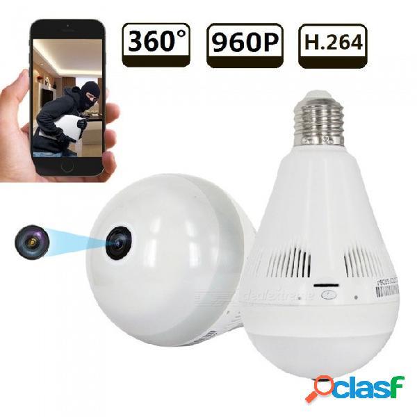 Strongshine 1.3mp cámara ip inalámbrica de ojo de pez con forma de bombilla panorámica ipc, mini cctv de 360 grados de seguridad para el hogar cámara p2p