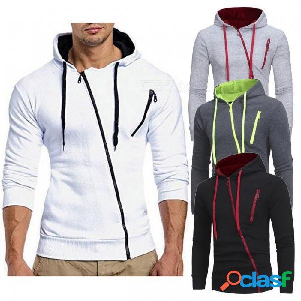 Sudadera con capucha con cordón inclinado y cremallera, casual hoodened slim slim hoodies para hombres negro / m