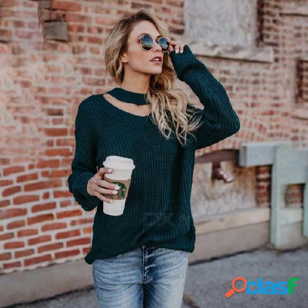 Suéter de punto flojo del invierno del otoño, suéter ocasional del suéter del ahogador del cuello en v para las muchachas de la señora verde oscuro / s