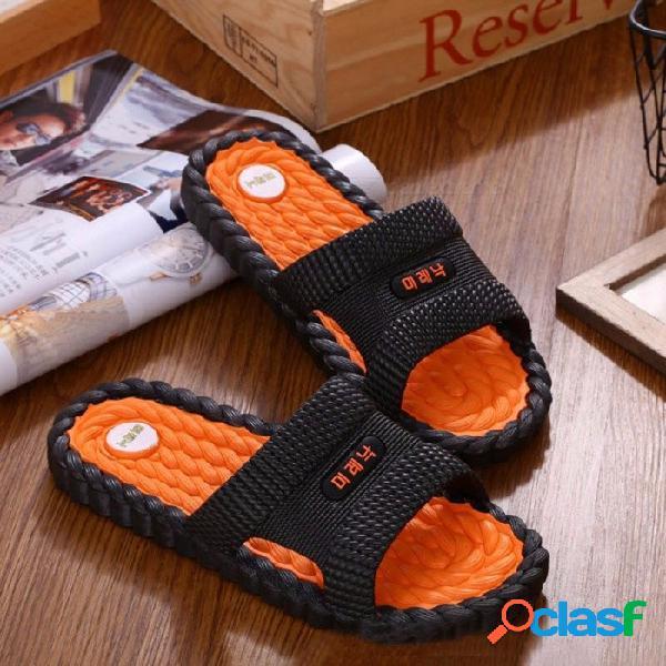 Baño ducha interior casa pvc antideslizante suave zapatillas de casa chanclas verano sandalias casuales para hombres azul / 40