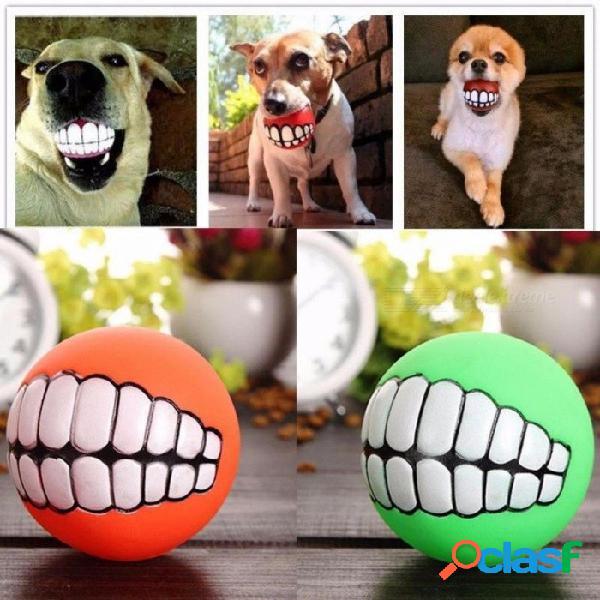 Divertido perro mascota cachorro gato bola dientes juguete, pvc masticar sonido juego de perro ir a buscar juguete chillido, suministros para mascotas