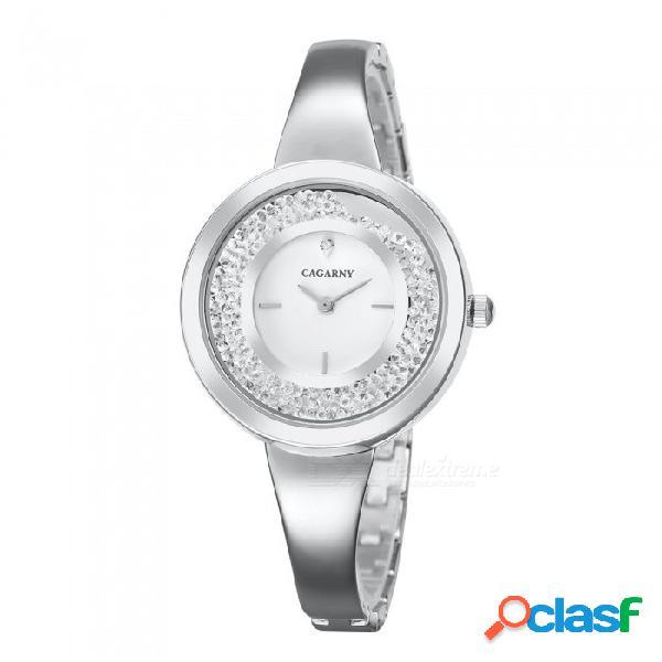 Reloj de cuarzo para mujer cagarny 6878, reloj de pulsera de diamantes de lujo con recubrimiento de acero inoxidable ip, correa de acero inoxidable