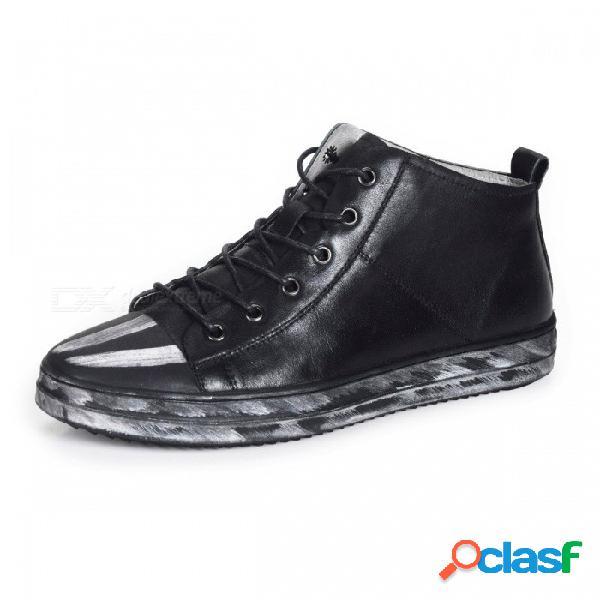 Zapatos casuales de cuero genuino vintage, mocasines cómodos con cordones transpirables y cómodos para uso diario negro / 38