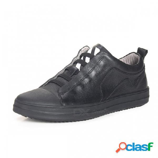 Zapatos casuales de cuero genuino, zapatos de los holgazanes de los hombres de la banda elástica cómoda transpirable para uso diario negro / 38