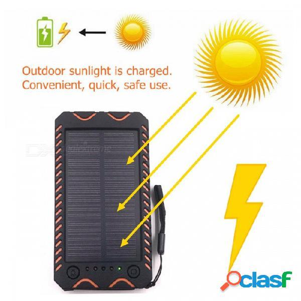 Zhaoyao 10000mah dc 5v con energía solar, banco de energía móvil, salida usb dual con linterna de luz de emergencia blanca, brújula