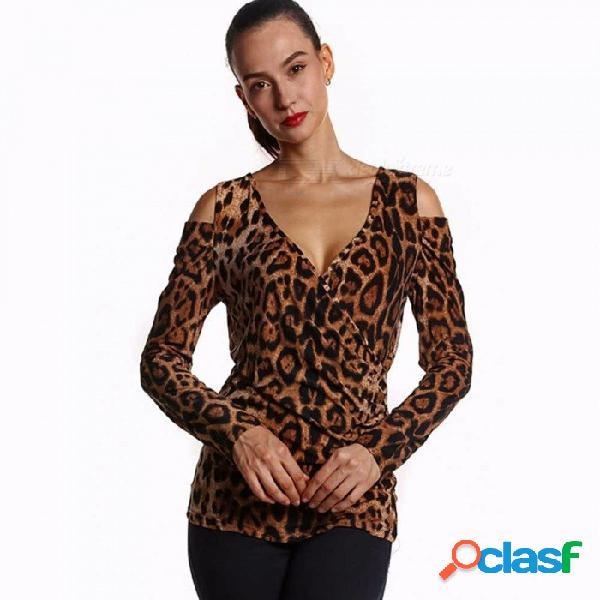 Camiseta con estampado de leopardo con escote en pico y estampado de leopardo en el hombro para mujer, leopardo / s
