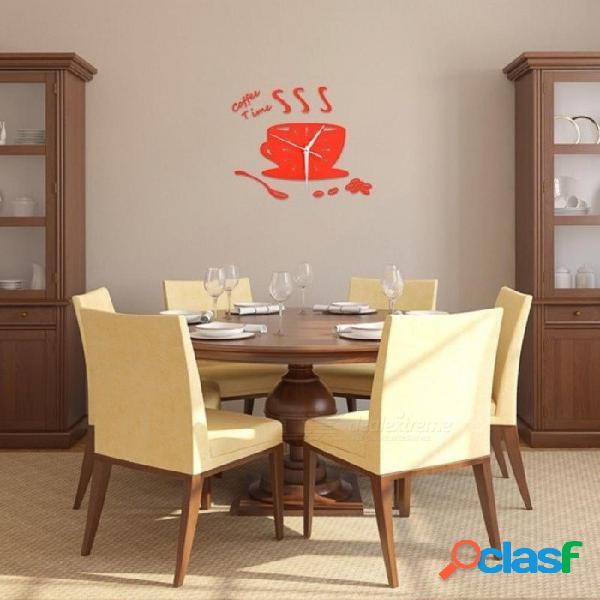 Creativo 3d diy taza de café reloj de pared moderno espejo de acrílico taza grande relojes de pared sala de estar & decoración del hogar reloj de pared duvar saati negro