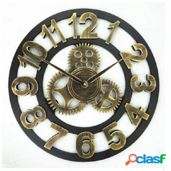 Hecho a mano de gran tamaño 3d retro rústico decorativo de lujo arte grande engranaje de madera vintage gran reloj de pared en la pared para regalo 20in 40 cm / blanco