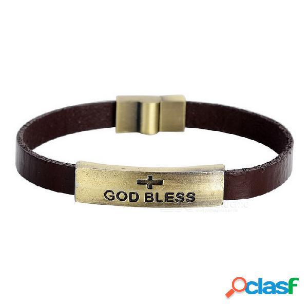 """Hombres """"god bless"""" patrón de vaca retro dividido cuero + pulsera de aleación de zinc brazalete - marrón"""