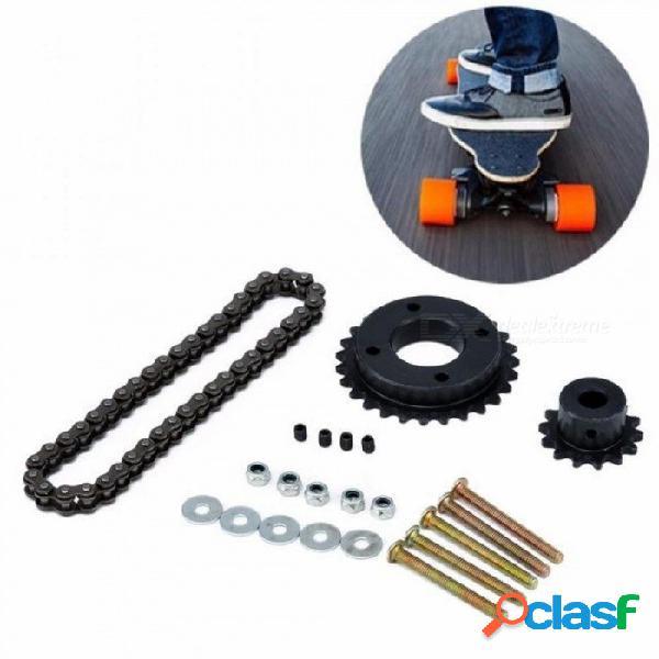 Monopatín eléctrico reemplazar la rueda de cadena del piñón de la parte posterior diy fijado para los accesorios del patín de longboard eléctrico de diy negro