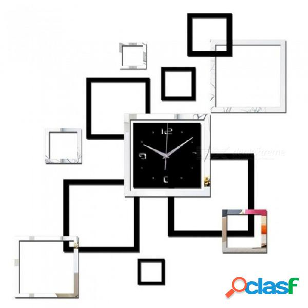 Sala de estar reloj de pared 3d relojes de bricolaje decoración del hogar reloj horloge murale cuarzo acrílico espejo pegatinas reloj de pared