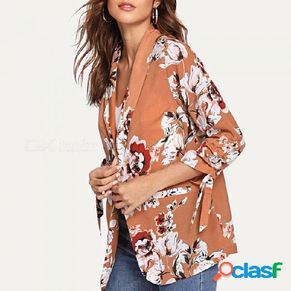 Traje de manga larga con estampado floral de las señoras de la oficina traje de manga larga con cinturón mujer otoño ropa de trabajo chaqueta coral rojo / s