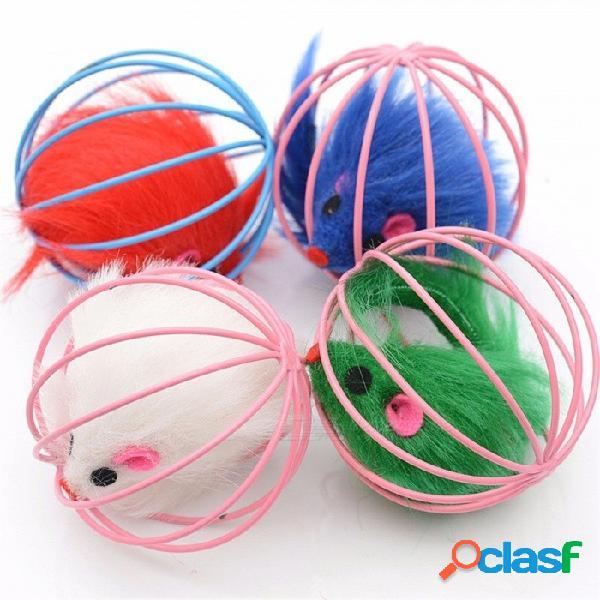 6 x raya enjaulada de 6cm de esfera de múltiples colores bola de ratón de peluche de jaula de alambre rodante, juguete de gato divertido, gato atrapa el rompecabezas de bola s