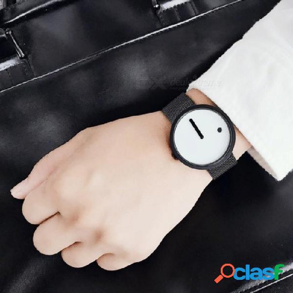Estilo minimalista fresco reloj de pulsera de acero inoxidable diseño creativo punto y línea reloj de moda de cuarzo con estilo simple e2320