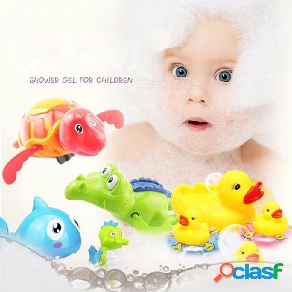 Linda caricatura animal tortuga clásico cuerda bebé juguete acuático nadar tortuga cadena reloj niños playa baño juguetes al azar color