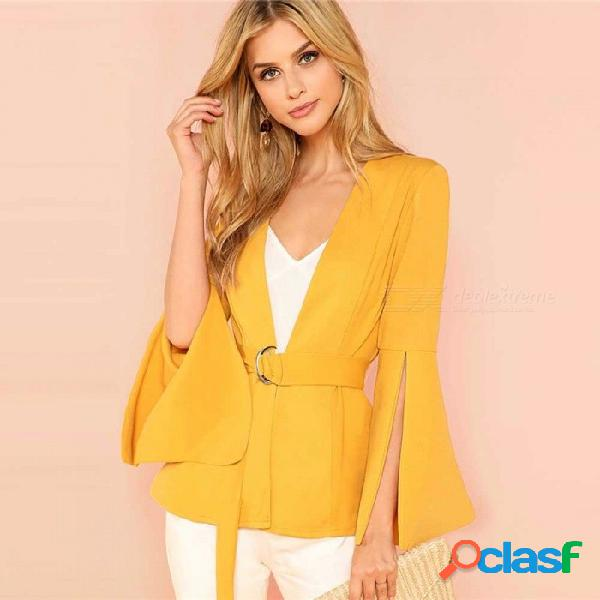 Manga dividida con cinturón de las señoras de la oficina superior de manga larga ropa de trabajo de las mujeres otoño chaqueta chaqueta elegante amarillo / xs